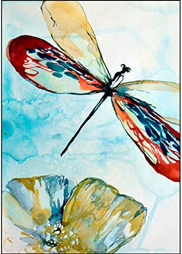 acquerello Fauna Selvatica foto arte, Dragonfly animali Stampa carta regalo