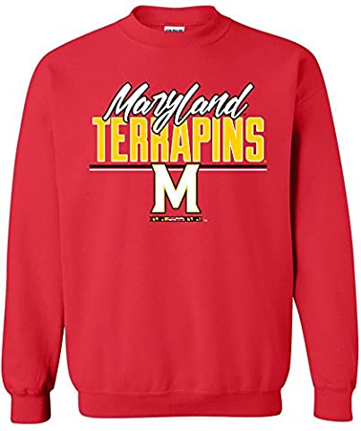 NCAA Maryland Terrapins Adult Unisex NCAA Script Crewneck Sweatshirt,Small,Red - Maryland Terps Ncaa Basketball