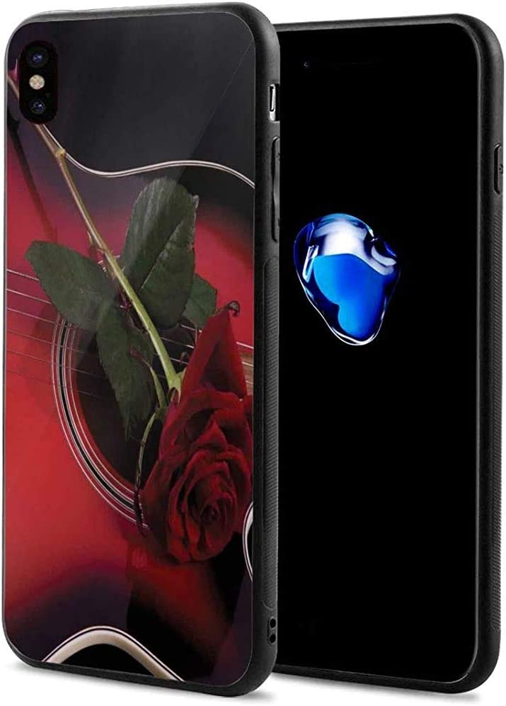 DreamMe Funda de teléfono para iPhone X/XS, músico español Portugal Guitarra con Tema romántico Love Valentines Rose 5.8 Pulgadas