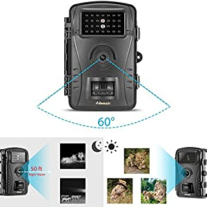 "Trail Camera, ABASK Wildlife Camera For Game And Hunting Scouting With Waterproof Case Digital 2.4"" LCD Screen HD 50 ft Night Vision Distance, Black"
