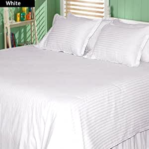 """Luxurious Living 500 Thread Count 100% Egyptian Cotton Striped White Short Queen Sheet Set with 19"""" Deep Pockets by HotHaat"""