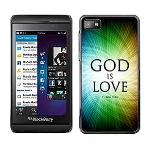 Paccase / Dura PC Caso Funda Carcasa de Protección para - BIBLE God Is Love - John 4:16 - Blackberry Z10