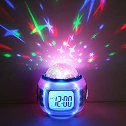 Alarm Clock Sunrise,Hangang Kids Alarm Clock Children Sleep Projection Digital Clock with Starry Sky Music Calendar Thermometer Backlight to Child Baby Boy Girl Children's Day Gift