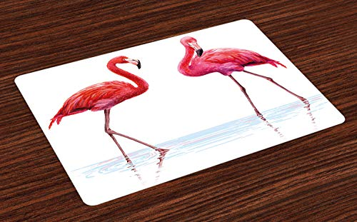 Ambesonne Animal Place Mats Set of 4, 2 Hand Drawn Flamingos in Pink Colors on Seaside Tropical Wildlife Artwork, Washable Fabric Placemats for Dining Table, Standard Size, Peach Scarlet ()
