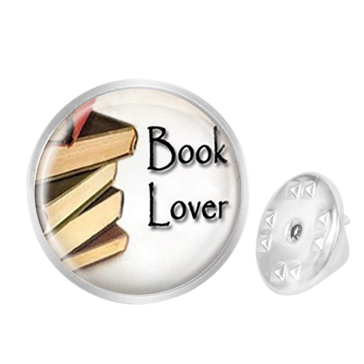 WAZZIT Round Metal Tie Tack Hat Lapel Pin Brooches Book Lover Bookworms Librarian Banquet Badge Enamel Pins Trendy Accessory Jacket T-Shirt