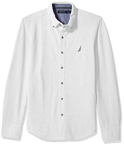 Nautica Men's Long Sleeve Striped Button Down Knit Shirt