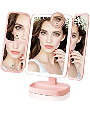 EASEHOLD Lighted Vanity Makeup Mirror with 1000LUX Bright LEDs Soft Natural 1X/2X/5X/10X Magnifying Ultra-Thin Stable Base Portable 180 and 90 Rotation Touch Screen Dual Power Supply Upgraded Version 3