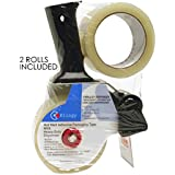 Packing Tape Gun with 2 Free Rolls of Packaging Tape 2 Inch Wide 55 Yard Long, Easy To Tape Boxes, Seal Cartons, Easy Side Loading, Excellent Tape Dispenser for Shipping, Packaging and Moving