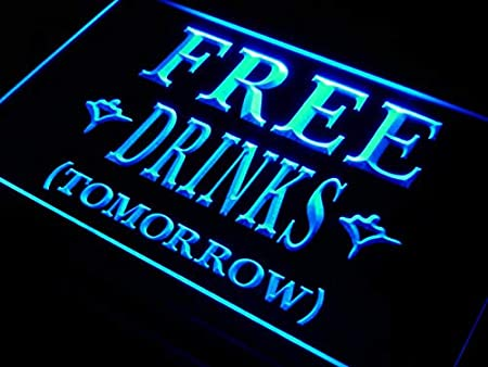ADVPRO Cartel Luminoso i649-b Free Drinks Tomorrow Beer Bar ...