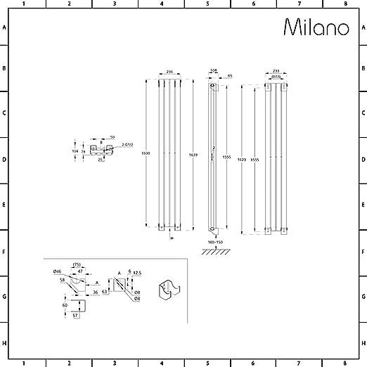 Milano Hudson Reed Acier Gris Anthracite 160 x 47cm Double Rang Radiateur Chauffage Central Vertical Design