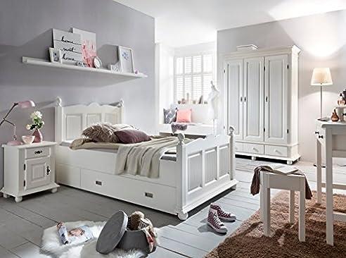 Kinderzimmer Set U0027Emilia 3u0027 6 Teilig Schminktisch Mädchenzimmer Bett  120x200 Weiß