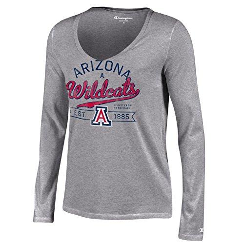 Ncaa Arizona Wildcats Womens Champion University Long Sleeve V Neck T Shirt  Medium  Gray