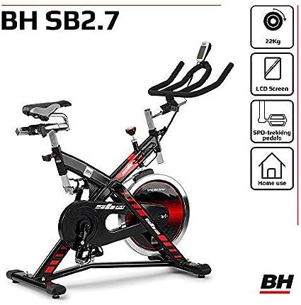 Bicicleta ciclo indoor BH Fitness SB 2.7 H9174F, volante inercia de 22 kg, transmision por correa y monitor LCD: Amazon.es: Deportes y aire libre