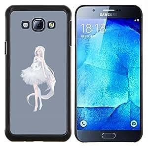 """Be-Star Único Patrón Plástico Duro Fundas Cover Cubre Hard Case Cover Para Samsung Galaxy A8 / SM-A800 ( Princesa de la bailarina Anime Gris Blanco"""" )"""