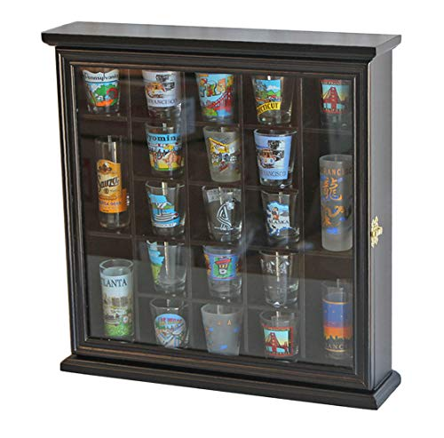 - 21 Shot Glass Shooter Display Case Holder Rack Wall Cabinet, Glass Door, SC01 (Black Finish)