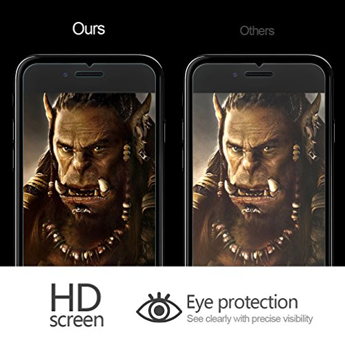 UTHMNE 3-Pack iPhone 7 Plus Screen Protector Glass, 0.3MM Slim And 9H Hardness Bubble Free, Anti-Fingerprint, Oil Stain&Scratch Coating