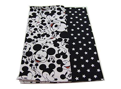 DIY Nähset Loop - Schal - Schlauchschal / Mickey Mouse schwarz-weiß, Jersey Sterne weiß auf schwarz / inkl. Anleitung / 55cm