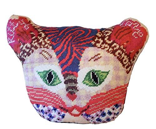 cat pillow, kitty love, valentine kitty, large stuffed cat/textile art ()