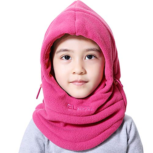 Price comparison product image Miracu Children's Lightweight Balaclava Winter Hat, Thick Windproof Soft Warm Fleece Kids Ski Cap Face Mask Winter Hood for Outdoor Sports (Light Rose Red)