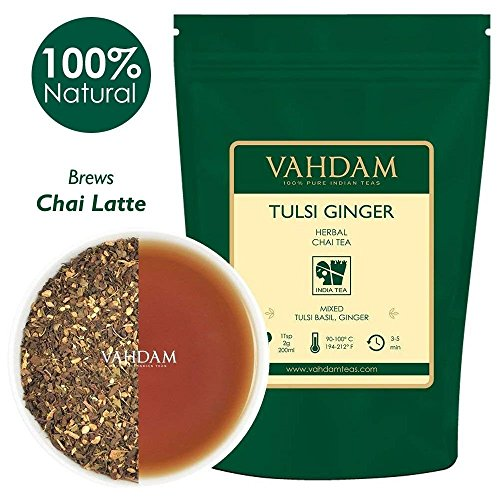 VAHDAM, Tulsi Ginger Herbal Tea (50 Cups) | STRESS RELIEVING & REFRESHING | Masala Chai Tea | Delicious Blend Of Ginger Tea & Tulsi Tea | Spiced Chai Tea Loose Leaf | Brew As Hot or Iced Tea | 3.53oz (Refreshing Tea)