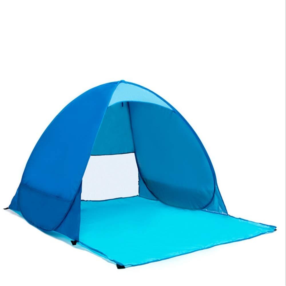Strandzelt Blaue tragbare Pop Up Sonnenschirm Strandzelt Sun Shelter Automatische Instant Family UV-Schutz 1-2 Personen-Baldachin-Zelt für Camping Angeln Wandern Picnicing Ultralight-Baldachin-Cabana-