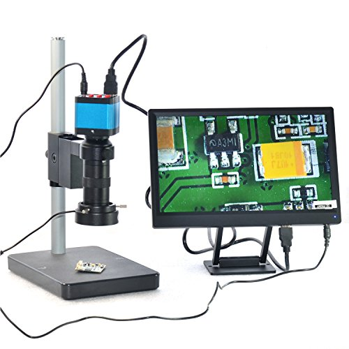 14MP HDMI USB Industry Microscope Camera 100X Zoom C-mount Lens 11.1'' IPS 1920×1080 LCD Monitor LED by Aihome