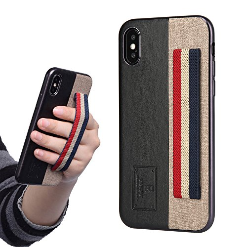 Holding Strap - iPhone X Leather Case with Elastic Finger Hand Strap Band, Slim Shockproof Protective Cover [Support Wireless Charging] for Apple iPhone 10 5.8 inch (Black) by VENIDER