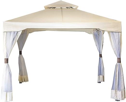 SF Savino Filippo - Cenador de jardín con 4 mosquiteras laterales, tela beige de metal y hierro negro, 3 x 3 metros, antioxidante, doble techo antiviento para exterior, terraza, bar, piscina: Amazon.es: Jardín
