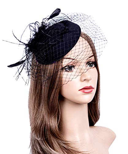Fascinators Hats 20s 50s Hat Pillbox Hat Cocktail Tea Party Headwear with Veil for Girls and Women (1-B1-Black) -