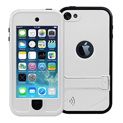 iPod 5 Waterproof Case, iPod 6 case, iThrough iPod 5 Waterproof Case with Stand, Dust Proof, Snow Proof, Shock Proof Case, Scratch Protective Carrying Cover Case for iPhone iPod 5, iPod 6 (White-)