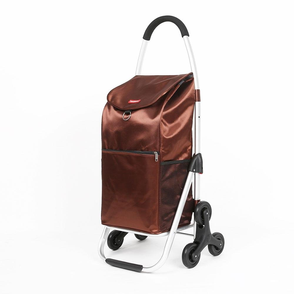 HCC& Shopping Cart Dolly Climb the stairs Collapsible Portable Trolley High capacity Groceries car High Strength EVA Rolling Swivel Wheels Dynamic load: 35kg , Brown