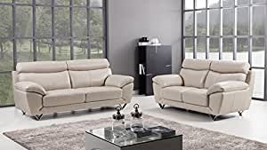 American Eagle Furniture 2 Piece Valencia Collection Complete Italian Grain Leather Living Room Sofa Set, Light Gray