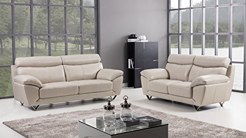 - American Eagle Furniture 2 Piece Valencia Collection Complete Italian Grain Leather Living Room Sofa Set, Light Gray