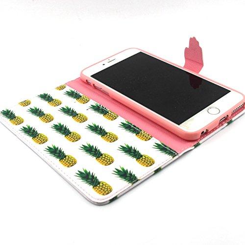 Samsung Galaxy S6 Edge Wallet Funda,Carcasa PU Leather Cuero Suave Impresión Cover Con Flip Case TPU Gel Silicona,Cierre Magnético,Función de Soporte,Billetera con Tapa Libro Tarjetas para Samsung Gal piña