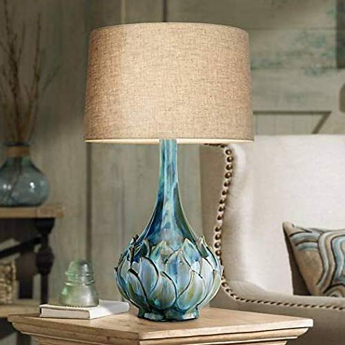 Kenya Modern Table Lamp Ceramic Blue Petals Vase Handmade Beige Linen Drum Shade for Living Room Family Bedroom - Possini Euro Design ()