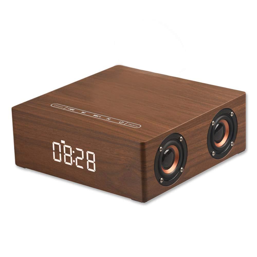Ré veil avec haut-parleur Bluetooth, V4.2 Haut-parleur de son sté ré o sans fil portable en bois sans fil 12W V4.2, 3600 mAh, Affichage de l'heure par DEL, Carte TF, AUX, Radio FM Affichage de l' heure par DEL Foonee