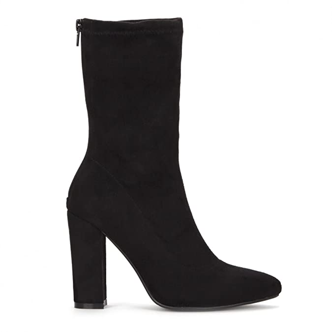 0e407adaa4d5 Shoe Closet Ladies Black Stretch Sock Pull On Ankle High Heels Boots  Amazon .co.uk  Shoes   Bags