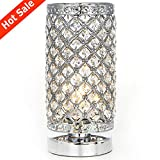 POPILION Elegant Decorative Chrome Crystal Table Lamp,Living Room Bedside Desk Lamp,Crystal Shade Lamp for Bedroom Living Room Coffee Table Bookcase