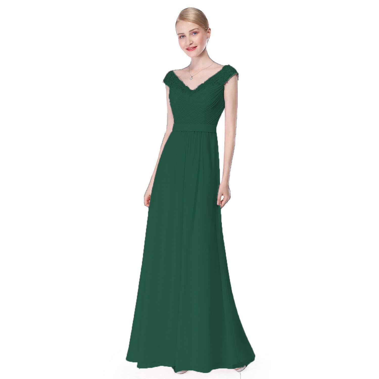 Dark Green Ruiyuhong Women's Aline Sleeveless Bridesmaid Dresses VNeck Wedding Party Gown