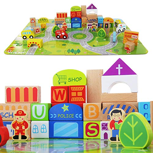 (Wooden Building Blocks for Toddlers - Little Town Colorful Solid Wood Set - Jigsaw Puzzle Mat - 100 Pieces Include People, Cars, Trees and City Buildings - Educational Baby Toy)