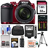 Nikon Coolpix B500 Wi-Fi Digital Camera (Red) with 32GB Card + Batteries & Charger + Case + Tripod + Flash Kit (Certified Refurbished) For Sale
