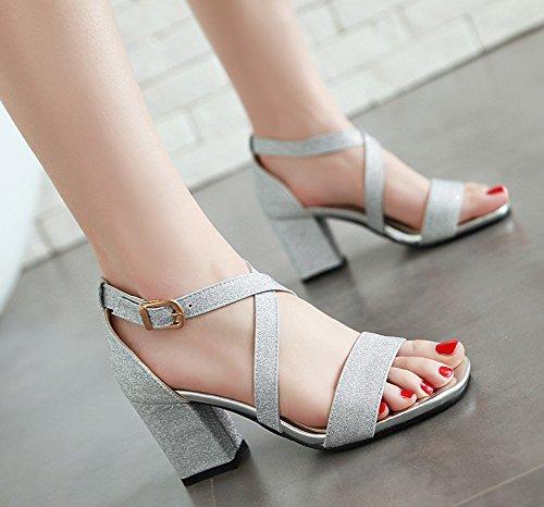 Chic Aisun Sequins Sandals Women's Silver Cross Strap Shoes 1pOpPwR5qr