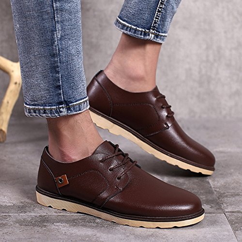 Trendy Leather Lace Toe Synthetic Mens Plain Shoes Summerwhisper Coffee Oxfords up Work Top Round Low 5T7qYqx