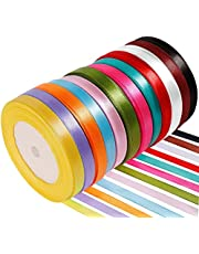 Anpro Satin Ribbon, 12 Yards-Roll Fabric Ribbons Set for Gift Wrapping Party Favor Hair Braids Hair Bow Baby Shower Decoration Floral Arrangement Craft Supplies, Mixed color Ribbon