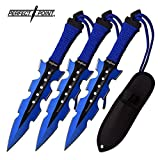PERFECT POINT THROWING KNIFE SET 7.5' OVERALL JAGGED SERRATED BLADE ... (BLUE)