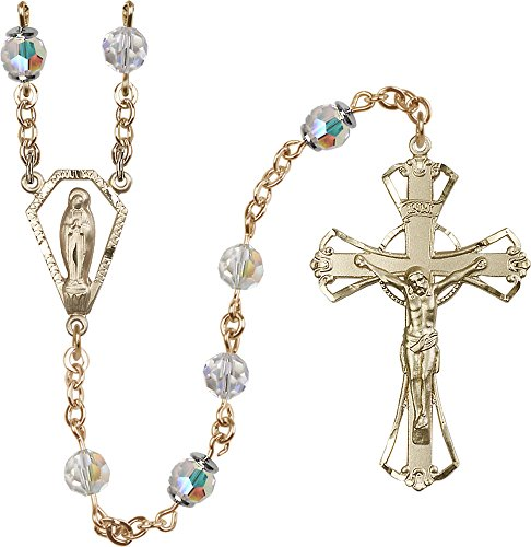 6mm Crystal Swarovski, Austrian Tin Cut Aurora Bo-14kt Gold Filled Rosary features 6mm Crystal Swarovski, Austrian Tin Cut Aurora Borealis beads. The Crucifix measures 1 3/4 x 1 1/8. The centerpiece features a Miraculous medal.-Each Rosary is presented in a deluxe velvet gift box. Hand-crafted in the USA by a group of talented artisans. (Aurora Borealis Crystal Rosary Beads)