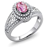 1.41 Ct Oval Pink Sapphire 925 Sterling Silver Ring