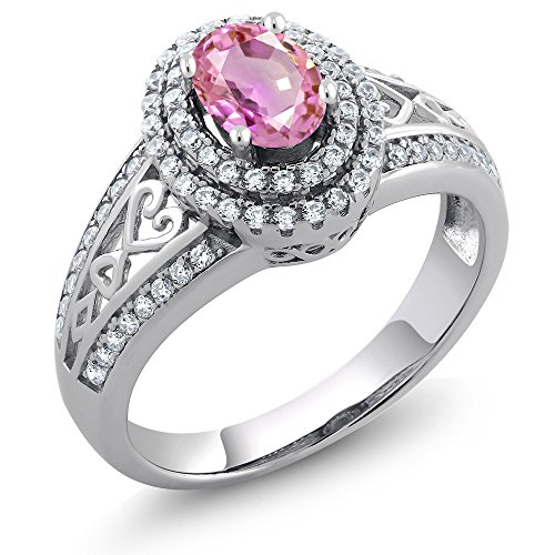 Gem Stone King 1.41 Ct Oval Pink Sapphire 925 Sterling Silver Ring