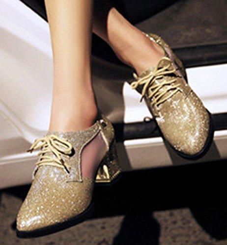 Idifu Donna Eleganti Scarpe A Punta Basse Stringate Basse Stringate Con Tacco Medio Stivali Grossi Oro