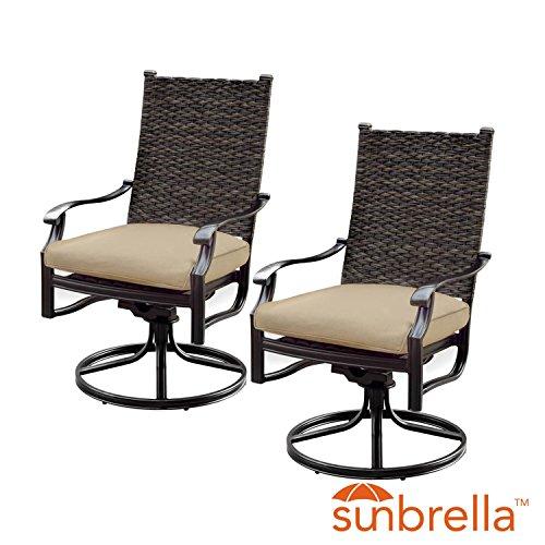 Lakeview Outdoor Designs Carondelet 2 Piece Wicker Patio Swivel Rocker W/Sunbrella Spectrum Sand Cushion By (Banana Rocker Chair)
